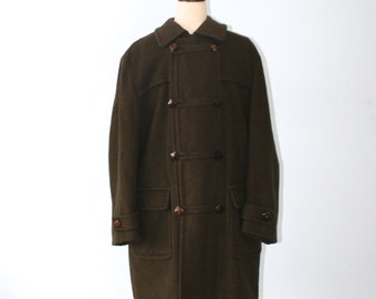 Vintage 1950s Wool Loden Frey Hooded Toggle Coat . 50s 60s Dark Green Wool Duffle Coat . Made in Western Germany . Sz Extra Large