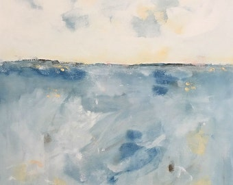 Light Blue Abstract Seascape Painting- Quiet Blue Sea 30 x 40