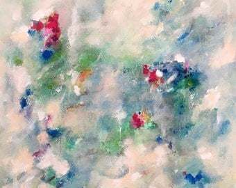 original abstract painting-  Garden View 24 x 24