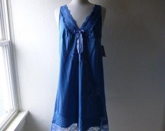 Slip Dress 36/38 M/LTurquoise Blue Glam Garb Handmade USA Romantic Nightgown Victorian Steam-punk Vintage Hand Dyed Retro Chic Boho Hippie