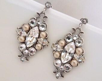Pearl Earrings Bridal Earrings Champagne Pearl Rhinestone Earrings Bridal Pearl Earrings Bridal Rhinestone Earrings Swarovski pearls GABY