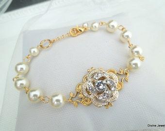 Bridal Rhinestone Bracelet,Rose Rhinestone,Ivory Or White Pearls,Pearl and Rhinestone Wedding Bracelet,Bridal Jewelry,Pearl,Rose,ROSELANI