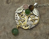 Steampunk Gemstone Gear Necklace Stainless Round Steel Pocket Watch Plate Green Gemstone