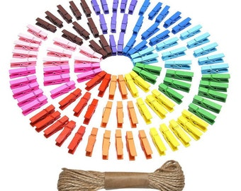 Mini Clothespins with jute twine, Small Wooden Clothes Pins, Tiny Clothespegs, Little Clothes Pegs 100pcs Embellishment Decoration