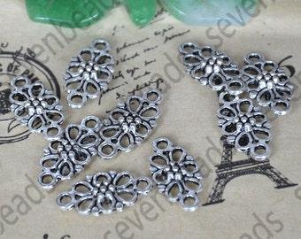 24 pcs Antique Silver tone flower Chinese knot Charms Pendants , Bracelet Connectors Pendant ,pendant findings