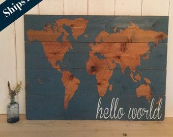 Hello World Nursery Decor - Map - Nursery Wall Art- Wooden Map - Rustic World Map - Wooden Nursery Map - Map Wall Hanging - Gift for Baby