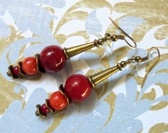 Red, Coral and Brass Earrings (2853)