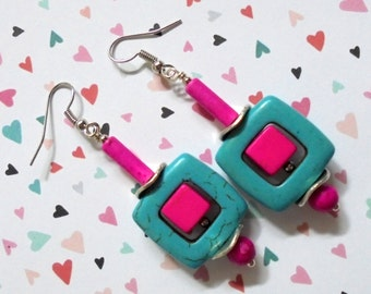 Turquoise and Hot Pink Earrings (2568)