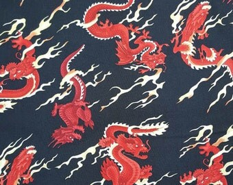 Dragon Fabric Red and Black Novelty Fabric 1 yd