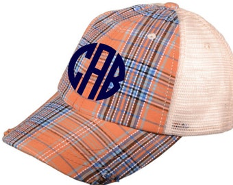 Monogram Plaid Trucker Hat - Monogram Distressed Plaid Trucker Hat - Monogram Raggy Trucker Hat