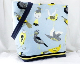 Bird Bag, Shoulder Bag, Large Aviary Tote, Grey and Blue, Waverly Fabric, Large Tote Bag, Large Work Bag