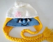 Knitting Smurfette hat,Knited Smurfette hat,Winter Hat,Knit  Woolen Hat, The Smurfs hat, Smurf hat