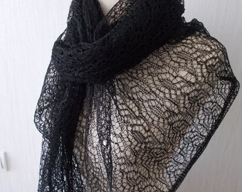 Black Lace Shawl Linen Scarf Knitted Natural Summer Flax  Wrap