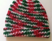 Christmas Hand Knit Beanie, Cute And Unique Hand Knit Hat, Handknit Beanie - Child - Adult- Christmas Handmade Hat With Brim
