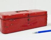 Vintage Red Tool Box - small metal storage tote