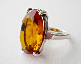 Mid Century Ring Amber Glass Ring Sterling Machine Age Amber Ring Size 8 Ring