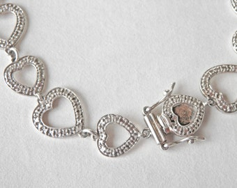 Heart Bracelet Sterling Silver Sterling Heart Link Bracelet Vintage Jewelry 925 Signed Vintage Jewelry Textured Silver