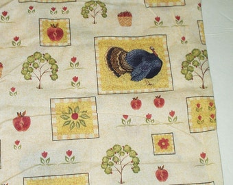 Turkey Cotton Print Fabric Thanksgiving Holiday Novelty Print Cotton Sewing Quilting Crafting Fabric Dry Goods 1.5 Yards Plus