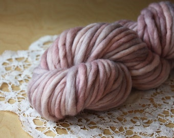 Hand Dyed Yarn / Super Bulky / Pale Blush Rose Mauve Dove Pearl Silver Grey Merino Wool Single Ply / Shell / NEW