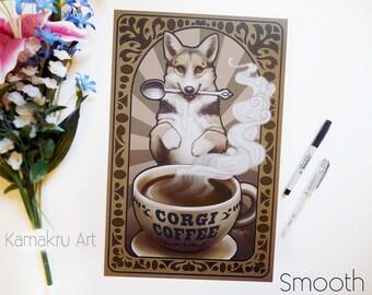Corgi Coffee | Art Nouveau | Love Coffee | Tri Colored Corgi | Kitchen Decor Art | Brown Black White | Art Print | 11x17