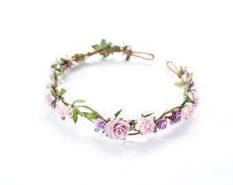 purple pink rose berry leaf hair wreath // bridal wedding flower crown headband rustic forest garden spring woodland headpiece
