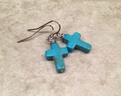 Cross Earrings Turquoise Tone Simple Statement Jewelry / youthful  feminine Boho Gypsy chic Gift For her Easter
