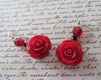 Dangling Bright Red Resin Rose Earrings with Black and Red Crystals