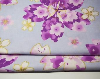 Japanese Fabric - Flower - Light Blue