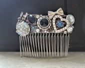 Crystal Hair Comb, Bridal Vintage Hair, Recycled Hair Comb, Silver Hair Comb, Upcycled Headpiece, Repurposed Accessory, Collage Hair Comb