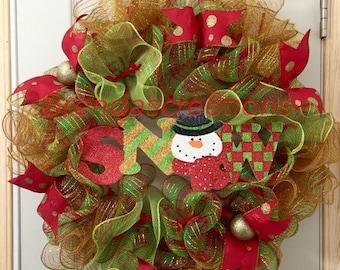 Christmas Deco Mesh Snowman, Winter Wreath Front Door, Gift Idea,  Let It Snow