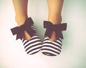 Baby Girl Shoes Toddler Girl Shoes Soft Sole Shoes Black and White Stripes Flower Girl Shoes Wedding Shoes Black Shoes Infant Shoes- Belle