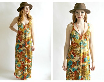 1960s Psychedelic Dress- Maxi, XS/S, Boho Hippie Chic, Festival Summer Breezy Flowy 70s Retro Bold, Halter Slip Dress