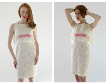"Bridal White Lace Dress w/ Pink Satin Bow- 28"" Empire Waist, Vintage Wedding Bridal Shower Knee Length, 50s 60s Wedding"