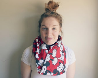 Vintage Mickey Mouse Red Disney Infinity Scarf