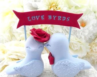 Wedding Cake Topper Love Birds, Red and Light Blue - Love Birds Banner - Bride and Groom Keepsake