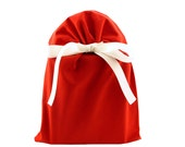 Reusable Fabric Gift Bag in Solid Red Organic Cotton for Valentine's Day, Christmas, Birthday, or Any Occasion