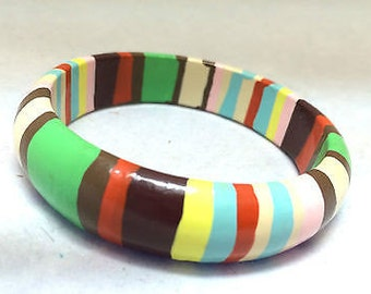Wooden Bangle Colorful Stripes Handmade Unique Bracelet Ethnic Vintage Jewelry