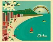 Honolulu Print, Honolulu Hawaii Skyline, Diamond Head Print, Waikiki Beach Print,  Honolulu Wall Art, Oahu Art Wedding,  Oahu  Art  E8-O-OAH
