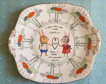 RESERVED I Was Lost and I Was Lonely Bunny Couple Wedding Vintage Illustrated Large Plate