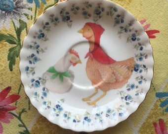 Caped Chickens with Tiny Floral Vintage Illustrated Plate
