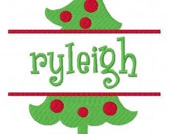 Christmas Tree 5x7 Split Machine Embroidery Monogram Font Set, Machine Embroidery Designs, Embroidery Font // Joyful Stitches