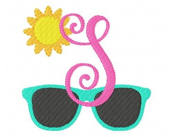 Machine Embroidery Monogram Font Design Set // Sunglasses  // Beach // Summer // Embroidery font, Embroidery Monogram Font// Joyful Stitches