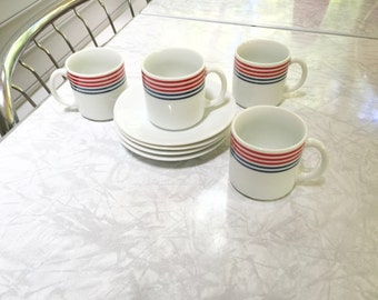 Set of 4 Vintage Copco Demitasse or Espresso Cups and Saucers from Japan Circa 1982