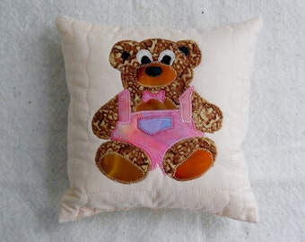 Baby Bear Pillow Pacifier Pillow Baby Shower Gift Bear in Overalls Blue Bear Pillow Toy Bear Pillow Brown Teddy Bear Kids Decorations Pastel