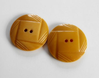 Art Deco Bakelite Buttons Custard Yellow