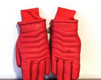 vintage red leather gloves - 1980s faux fur lined leather gloves