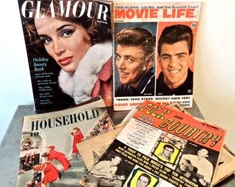 vintage magazines 1950-1960 lot of 8