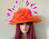 Orange Fuscha Hot Pink rhinestone brooch organza feathers medium brim hat