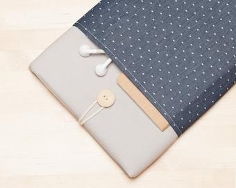 iPad Pro case / iPad Pro sleeve / iPad 9.7 cover / iPad air 2 sleeve , padded with pockets  - blue dots in grey