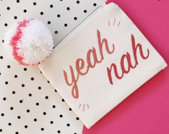 Yeah Nah Embroidered Purse